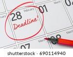deadline written on a calendar  ...   Shutterstock . vector #690114940