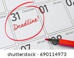 deadline written on a calendar  ... | Shutterstock . vector #690114973
