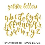 gold glitter hand drawn latin... | Shutterstock .eps vector #690116728