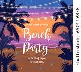 beach party vector illustration ... | Shutterstock .eps vector #690119878