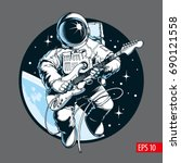 Astronaut playing electric guitar in space. Space tourist. Vector illustration. | Shutterstock vector #690121558