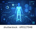 Stock vector abstract technology science concept human data health digital hud interface elements of medicine 690127048