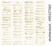 golden text separators. wedding ...   Shutterstock .eps vector #690127360