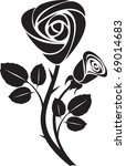vector black rose art... | Shutterstock .eps vector #69014683