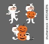 cute mummy with pumpkin set ... | Shutterstock .eps vector #690148396