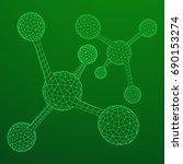 wireframe mesh molecule....   Shutterstock .eps vector #690153274
