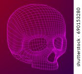 skull wireframe low poly mesh.... | Shutterstock .eps vector #690153280