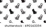cat halloween cat skull cat... | Shutterstock .eps vector #690163354