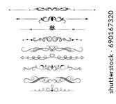 set of decorative swirls... | Shutterstock .eps vector #690167320