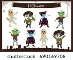 set of halloween characters.... | Shutterstock .eps vector #690169708