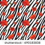 Flower Zebra Seamless Pattern