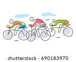 cycling race line art stylized. ... | Shutterstock .eps vector #690183970