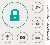 set of 6 security icons set... | Shutterstock .eps vector #690184744