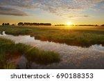 sunrise in national wetlands... | Shutterstock . vector #690188353
