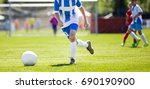 soccer player action on stadium.... | Shutterstock . vector #690190900