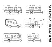 auto rvs  camper cars   vans ... | Shutterstock .eps vector #690195610