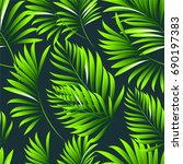 tropical palm leaves  jungle...   Shutterstock .eps vector #690197383