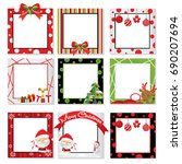 set of christmas photo frame... | Shutterstock .eps vector #690207694