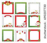 set of christmas photo frame... | Shutterstock .eps vector #690207730