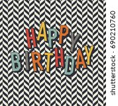vintage birthday card. diagonal ... | Shutterstock .eps vector #690210760