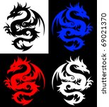 Dragon, tribal tattoo - stock vector