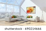 modern bright living room ... | Shutterstock . vector #690214666