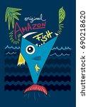 amazon fish cartoon t shirt... | Shutterstock .eps vector #690218620