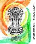 lion capital of ashoka in... | Shutterstock .eps vector #690226324