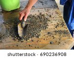 visitor to the crater of...   Shutterstock . vector #690236908