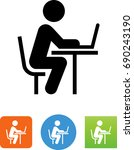 working at desk icon | Shutterstock .eps vector #690243190