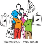 family with shopping bags... | Shutterstock .eps vector #690243568