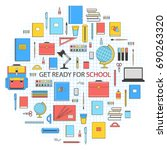 get ready for school banner.... | Shutterstock .eps vector #690263320