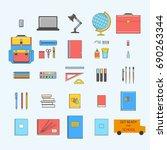 set of school objects  eraser ... | Shutterstock .eps vector #690263344