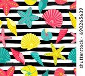 seashell seamless pattern on... | Shutterstock .eps vector #690265639