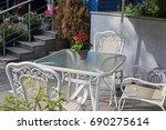 vintage summer cafe white... | Shutterstock . vector #690275614