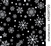 seamless pattern of snowflakes... | Shutterstock .eps vector #690289720