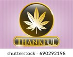 gold emblem or badge with... | Shutterstock .eps vector #690292198