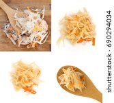 Small photo of Homemade Sauerkraut and Carrots Isolated on White Background Photographed with Natural Light