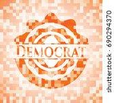 democrat abstract orange mosaic ... | Shutterstock .eps vector #690294370