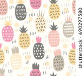 different abstract pineapples. | Shutterstock .eps vector #690297580