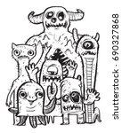 the monsters doodle style ... | Shutterstock .eps vector #690327868