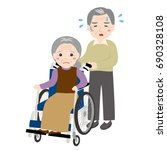 an old man is caring for an old ... | Shutterstock .eps vector #690328108