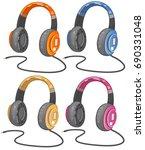 music  headphones  vector | Shutterstock .eps vector #690331048