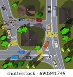 top view crossroads in a small... | Shutterstock .eps vector #690341749
