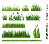 green grass border plant lawn... | Shutterstock .eps vector #690347110