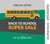 back to school sale banner... | Shutterstock . vector #690356050