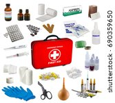 first aid kit box with medical... | Shutterstock . vector #690359650