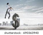 young furious businessman going ... | Shutterstock . vector #690363940