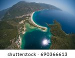 aerial view of the beach of... | Shutterstock . vector #690366613
