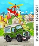 cartoon funny looking off road... | Shutterstock . vector #690372934